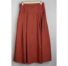 Cotton&Linen dark red long skirt/Maxi by kunniestore on Etsy