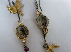 these are beautiful!!! vintage watch case earrings with birds by mollyheltsleydesigns, $60.00