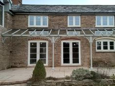 Our fluted columns with the Trompette bases and our Lattice quarter arches in Herefordshire, Pergola Attached To House, Pergola With Roof, Covered Pergola, Backyard Pergola, Pergola Shade, Patio Roof, Pergola Kits, Outdoor Shade, Wooden Pergola