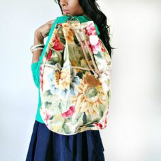 vintage 80s large FLORAL PIXEL ART bucket backpack by PasseNouveauVintage, $44.80
