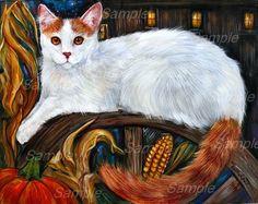 Turkish Van painting White Tabby Cat, Turkish Van Cats, Angora Cats, Pumpkin Art, Fall Pumpkins, Cat Breeds, Cat Art, Art Forms