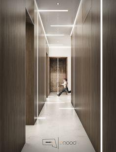 Project First Floor_ Corridor Lobby Interior, Interior Lighting, Lighting Design, Interior Design, Corridor Design, Foyer Design, Bedroom Floor Tiles, Zen Interiors, Corridor Lighting