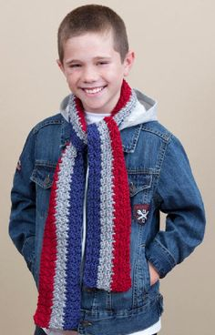 Use Southern colors - black & gold...Red Heart® Soft™ School Stripes Scarf by Whitney Christmas