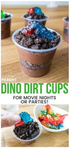 Make this Dinosaur Dirt Cup Recipe for your dinosaur themed party or movie night! It makes party planning easy! Kids love chocolate pudding and cookies, so it's sure to be a hit! It's a must have for a Jurassic World themed movie night! Park Birthday, Dinosaur Birthday Party, 4th Birthday, Elmo Party, Mickey Party, Birthday Ideas, Birthday Parties, Birthday Recipes, Themed Parties