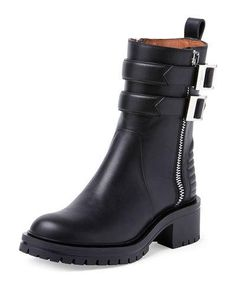 Double-Buckled Zip Ankle Boot, Black