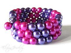 Bridesmaid Jewelry Hot Pink Purple Memory Wire by ElwynJewelry