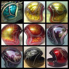 Custom helmets - original artwork by Timebomb Kustoms Biltwell Helmets, House of Kolor Kandy, Roth Metal Flake, One Shot Pinstriping Paint. Bloomington Indiana, IN
