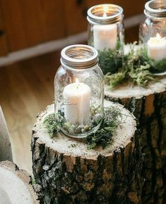 Set the mood at your next event with Mason Jar Candle Holders - click the link in profile for more DIY ways to craft with #MasonJars (: @emilywrenphoto) #wedding
