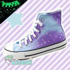 Kawaii Boy - Galaxy HandPainted Sneakers - Harajuku, Ulzzang, Fairy Kei - FREE SHIPPING - Thumbnail 1