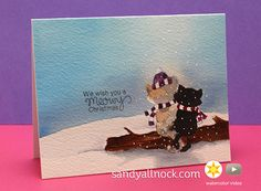 Deck the Halls with Inky Paws - Day 1 - Sandy Allnock | Holiday cards using stamps by Newton's Nook Designs #newtonsnook