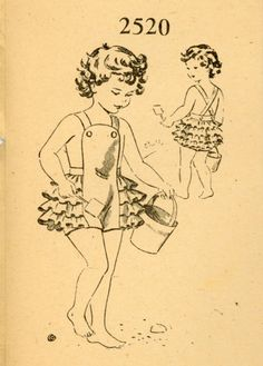 Mail Order 2520 Toddler 1940s Sunsuit Pattern by CynicalGirl, $35.00