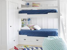 Nautical Kids Room A blue-and-white palette hints at a maritime theme without going overboard. Built-in bunk beds and cupboards offer a wealth of storage.