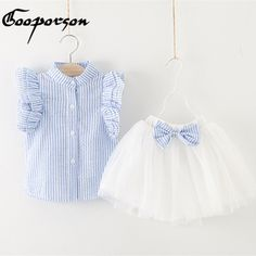 Girl Dress 2017 Summer Style Girls Clothing Sets Butterfly Sleeve Striped T-shirt& Bow Short Skirt Girls Suits Kids Clothes Baby Girl Frocks, Baby Girl Party Dresses, Kids Frocks, Toddler Girl Outfits, Little Girl Dresses, Kids Outfits, Girls Frock Design, Baby Dress Design, Baby Girl Dress Patterns
