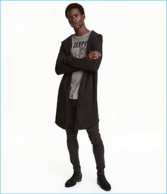 H&M Divided Men's Black Sweatshirt Cardigan