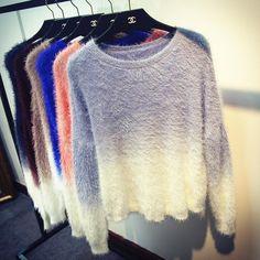Gradiente Suéter 2017 Nueva Moda de Gran Tamaño de Punto Tricot Suéteres Suaves Señoras Del Knit Batwing Mohair Suéteres Sueltos WS-050