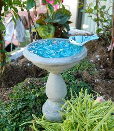 Miniature Fairy Garden Birdbath with faux water by gardenflowers1, $13.99