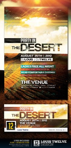 Party in the Desert Broken Clouds, Sand Springs, Real Estate Ads, Event Flyer Templates, Flyer Layout, Facebook Timeline Covers, Information Graphics, End Of Summer, Spring Summer