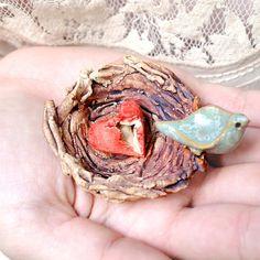 Birds nest ceramic sculpture blue bird mother child by OneClayBead,