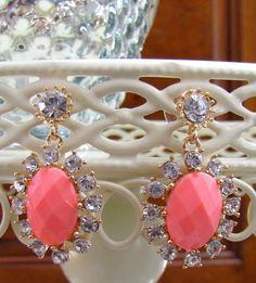 NEW Pink Crystal Statement Bubble Pierced Chandelier Earrings Women's Post US  #DropChandelierDangle
