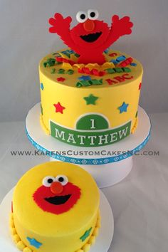 "A little 6"" Elmo cake w matching smash cake. Buttercream w fondant decor."