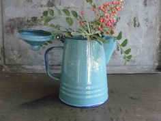 Blue coffee pot enamelware