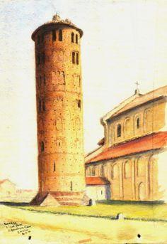 S. Apollinare in Classe - acquerello watercolour - G.H.Sim, 1912 - Raccolta personale.
