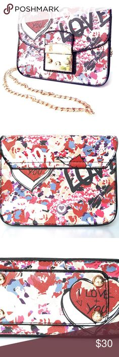 Crossbody Handbag - I Love You Graffiti - Fashion Brand new adorable handbag  I love you is written on the handbag.  Magnetic closure and chain strap.  Measurements are:  17 x 12 x 7.5 cm  Zipper pocket, cell phone pocket & card pocket   This is a cruelty free handbag - no leather!  Cruelty free is the way to be - Vegan 4 life! Bags Crossbody Bags