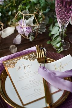 Wedding Inspiration Feature – Luxe Boho Meets Soft Lavender. Gold wedding menu and place card with lavender details. Geometric floral centerpiece. #goldpurplewedding http://www.theweddingguru.ca/wedding-inspiration-feature-luxe-boho-meets-soft-lavender/
