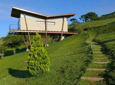 Low-Impact Pinus House Takes Flight in a Brazilian Pine Forest Tyni House, Cliff House, Sustainable Architecture, Sustainable Design, Green Building, Building A House, Butterfly Roof, House On Stilts, Container House Plans