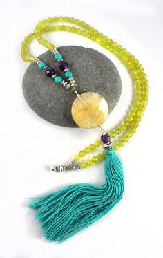 Summer Sun Mala Necklace Prayer Beads or Tassel Necklace by goodmedicinegemstone
