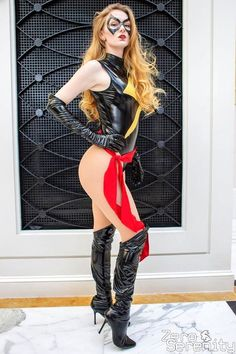 Marvel Cosplay Girls, Superhero Cosplay, Cool Costumes, Cosplay Costumes, Star Trek Outfits, Frauen In High Heels, Sexy Boots, High Boots, Black Leather Skirts
