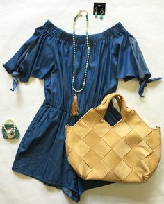 The cutest romper in the land! Tie-Sleeve Off The Shoulder Chambray Romper $52. Styled with Clover Teardrop Earrings $18, Multi-Stone Tassel Necklace $18, Pearl and Turquoise Bracelet $22, Multi-Strand Crystal Bracelet $28 and a Woven Faux Suede Tote $45. Open until 4pm today. #treschic #treschichouston #new #newarrivals #denim #chambray #offtheshoulder #romper #turquoise #beads #tassel #clover #earrings #bracelets #layering #stacked #chic #style #woven #totebag #affordable #fashion #summer