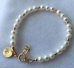 Oro pulsera de perlas de agua dulce pulsera de perlas agua