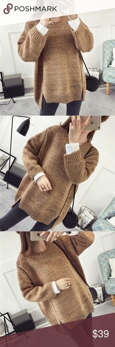 "Khaki slit sweater Material: acrylic and cotton blended Measurement: length: front 23.5, back 26"", bust: 48-49"", around, sleeve length-15.5"" shoulder to shoulder- 25.6"" Sweaters"