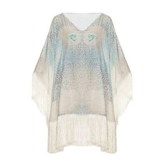Athena Procopiou Little Lies cotton and silk-blend kaftan ($491) ❤ liked on Polyvore featuring tops, tunics, blue multi, caftan top, kaftan tops, blue floral top, graphic tops and floral kimono top