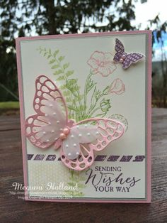 Stampin' Up! ... Butterfly Basics Dryer Sheets Technique ...great layered butterfly treatment ... embossed vellum and pink pearls on top ...