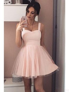 A-Line Straps Short Prom Dress Sleeveless Pink Tulle Homecoming Dress Hoco Dresses, Event Dresses, Pretty Dresses, Beautiful Dresses, Dress Prom, Light Pink Homecoming Dresses, Party Dress, Short Pink Prom Dresses, Light Pink Dresses