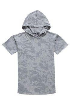 Boys Long Line Splash Print Hooded Top   Boohoo