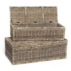 Rect Rattan Chests, Set of Two