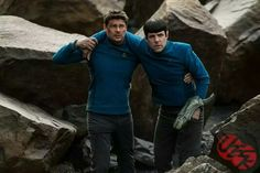 New photos from Star Trek Beyond released and this pinner is PSYCHED for July 22. Bones and Spock, sporting what appears to be some alien weapon. Spock's not holding that weapon in hand and I know that to be the hand Spock hurts (ZQ shared bloody hand photo on IG), so it could also be not a weapon he's wielding, but a weapon he's been a victim of, or maybe something else entirely.
