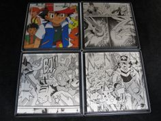 Pokemon Repurposed Comic Coaster Set by EpicButtons on Etsy, $20.00