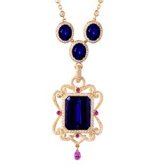 Erica Courtney ~ Aurora Drop Dead Gorgeous Necklace with tanzanite and pink sapphire