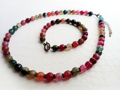 Colourful faceted gemstones, necklace and bracelet by MercysFancy on Etsy