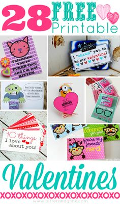 28 Free Printable Valentines--A great collection of FREE Valentines from awesome bloggers! www.pitterandglink.com