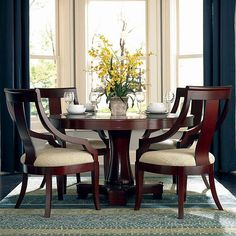 Cresta Round Pedestal Dining Table & Chairs by Coaster Casual Dining Rooms, Elegant Dining Room, Dining Room Design, Round Pedestal Dining Table, Dining Table Chairs, Dining Room Furniture, Dining Sets, Coaster Furniture, Small Dining