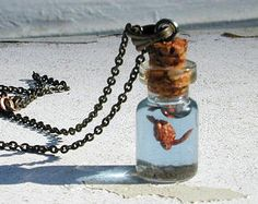Tiny Black Goldfish in Glass Bulb Vial Pendant or by BottledUpShop