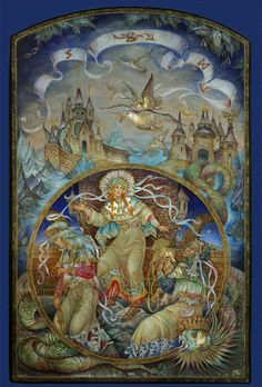 """Panel """"The Norns""""The three norns spinning the thread of destiny for gods and men. It is the series """"Asgard"""" of 5 lacquered panel pictures showing the world of the supreme Scandinavian gods. S..."""