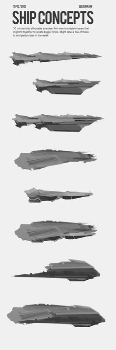 Space Ship Silhouettes - Concept Sketches by zeedurrani