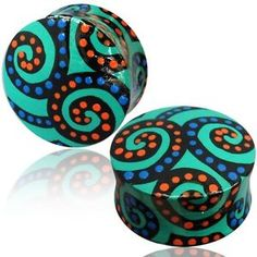 PAIR-OF-WOODEN-HAND-PAINTED-PLUGS-TURQUOISE-TEAL-SPIRAL-EYELETS-GAUGES-PLUGS-EAR