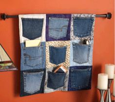 old jeans pockets decorate each pocket! Doilies, appliques, ribbons buttons painting!